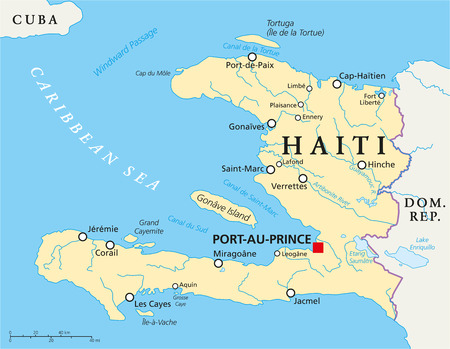 Haiti Political Map with capital Port-au-Prince, with national borders, important cities, rivers and lakes. English labeling and scaling. Illustration. Stock Illustratie