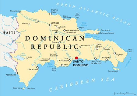 Dominican Republic Political Map with capital Santo Domingo, with national borders, important cities, rivers and lakes. English labeling and scaling. Illustration. Ilustração