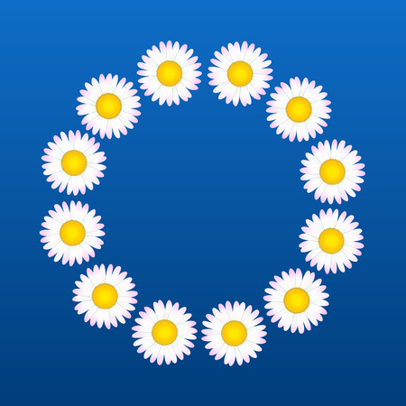 coronal: Flower coronal out of daisies. Vector illustration on blue background.