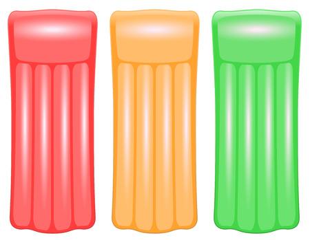 air traffic: Tres colchones de aire en los colores del sem�foro rojo, naranja y verde, por ejemplo, para evaluar los destinos de vacaciones o las condiciones de las playas o piscinas. Ilustraci�n vectorial aislados en fondo blanco.