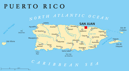 Puerto Rico Political Map with capital San Juan, a United States territory in the northeastern Caribbean, with important cities, rivers and lakes. English labeling and scaling. Illustration.