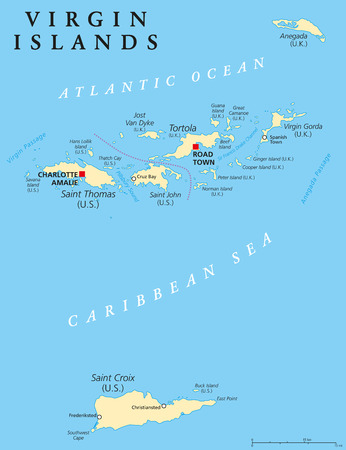Virgin Islands Political Map. An island group between the Caribbean Sea and the Atlantic Ocean. British Virgin Islands and Virgin Islands of the United States. English labeling and scaling. Illustration. 일러스트