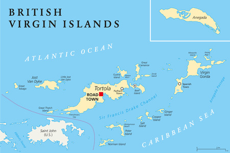 archipelago: British Virgin Islands Political Map, a british overseas territory located between the Caribbean Sea and the Atlantic Ocean and part of the Virgin islands archipelago. English labeling and scaling. Illustration