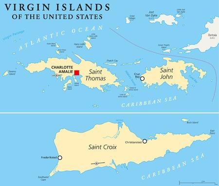 mapa politico: Islas V�rgenes de los Estados Unidos Mapa Pol�tico. Un grupo de islas en el Caribe, que es un �rea insular de los Estados Unidos. Etiquetado y escalado Ingl�s.