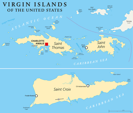 island state: United States Virgin Islands Political Map. A group of islands in the Caribbean that are an insular area of the United States. English labeling and scaling.