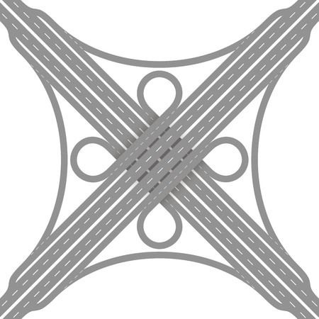 Cloverleaf interchange - two level, four way interchange with collectordistributor roads, loop ramps, underpass and overpass. Detailed vector illustration on white background.