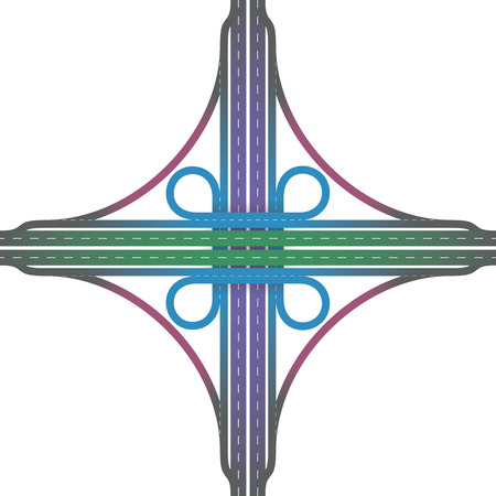 interchange: Road junction - cloverleaf interchange with collectordistributor roads, loop ramps, underpass and overpass in different colors to distinguish the road elements. Isolated vector illustration on white background.