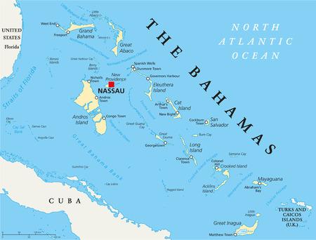 El mapa político Bahamas con un capital de Nassau, ciudades y lugares importantes. Etiquetado y escalado Inglés. Ilustración.