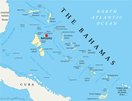 caribbean cruise: The Bahamas Political Map with capital Nassau, important cities and places. English labeling and scaling. Illustration. Illustration