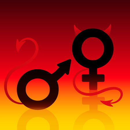 villainous: Bad boy and bad girl, figured as the male and female symbol, acting in hot flame fire burning hell called relationship. Isolated vector illustration on hell fire background. Illustration