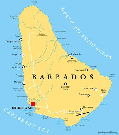 mapa politico: Barbados Mapa Político con el capital Bridgetown, con ciudades importantes, lugares y ríos. Etiquetado y escalado Inglés. Ilustración. Vectores