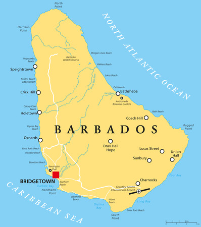 labeling: Barbados Political Map with capital Bridgetown, with important cities, places and rivers. English labeling and scaling. Illustration. Illustration