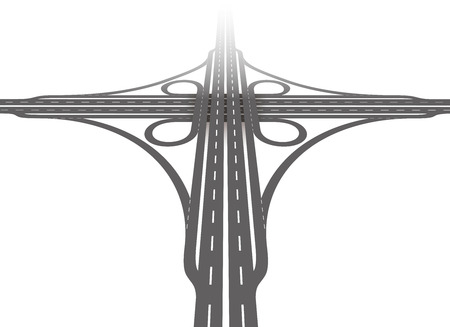 two roads: Cloverleaf interchange - aerial perspective - two level, four way interchange with collectordistributor roads, loop ramps, underpass and overpass. Detailed vector illustration on white background.