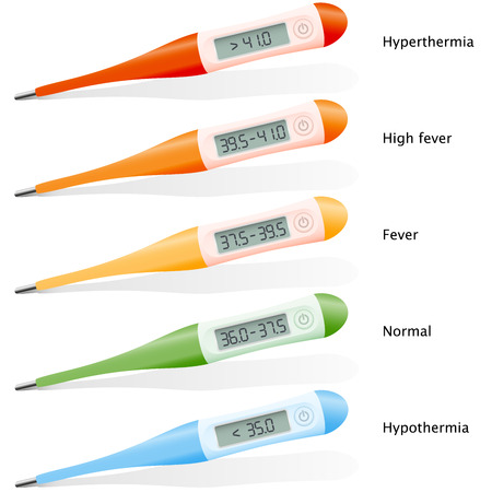 stated: Digital thermometers with five different stated temperature measurements in degree celsius - hypothermia, normal, fever, high fever and hyperthermia. Isolated vector illustration on white background.