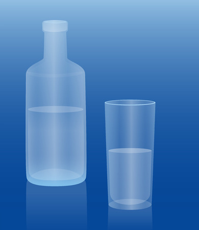 Bottle and glass filled with cold water. Isolated vector illustration on blue gradient background.