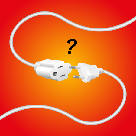 opposition: Improper extension cable and plug - they are not compatible. Isolated vector illustration on gradient red background.