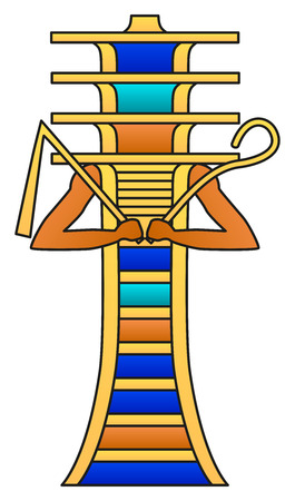 Djed pillar with crook and flail. Colored hieroglyph, ancient Egyptian mythology symbol, meaning stability. Associated with Osiris, god of afterlife, underworld and dead, also representing his spine.