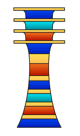 underworld: Djed pillar. Colored hieroglyph and ancient Egyptian mythology symbol, meaning stability. Associated with Osiris, god of afterlife, underworld and dead, also representing his spine. Illustration