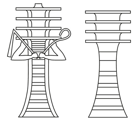 crook: Simple Djed pillar and Djed pillar with crook and flail. Hieroglyph, ancient Egyptian mythology symbol, meaning stability. Associated with Osiris, god of afterlife, underworld and dead. Illustration