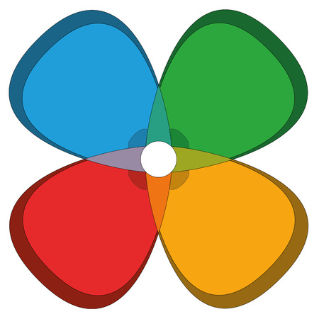 Four colors in a version of a cloverleaf flower. Isolated vector illustration on white background. Illustration