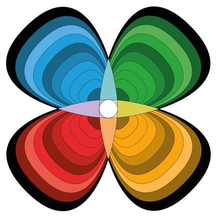 cloverleaf: Cloverleaf flower - quadripartite symbol - basic colors - isolated vector illustration - white background.