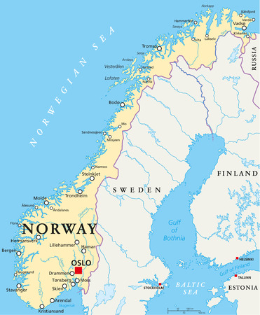 Norway Political Map with capital Oslo, national borders, important cities, rivers and lakes. English labeling and scaling. Illustration.