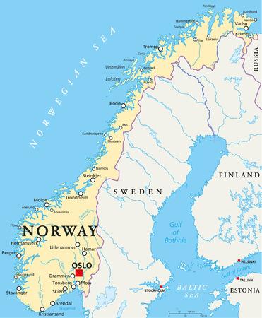 Noruega Mapa político con capital de Oslo, las fronteras nacionales, ciudades importantes, ríos y lagos. Etiquetado y escalado Inglés. Ilustración.