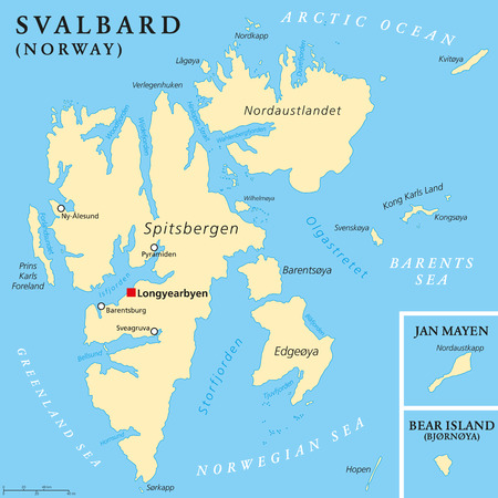 archipelago: Svalbard Political Map with capital Longyearbyen, a Norwegian archipelago in the Arctic Ocean, formerly known by its Dutch name Spitsbergen. English labeling and scaling. Illustration.