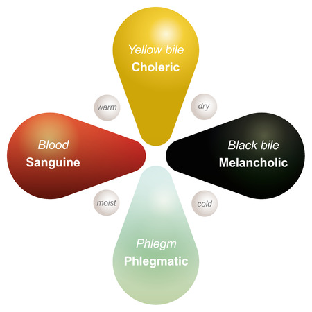 bile: The Four Temperaments - sanguine, choleric, melancholic and phlegmatic
