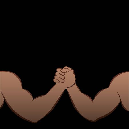 Arm Wrestling Challenge of two strong men muscle power