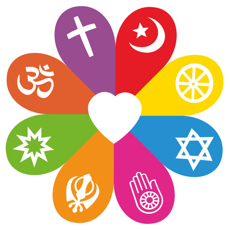Religious signs on colored petals assembling around a heart as a symbol for individuality colorful religious or faith - Christianity, Islam, Buddhism, Judaism, Jainism, Sikhism, Bahai, Hinduism. 矢量图像