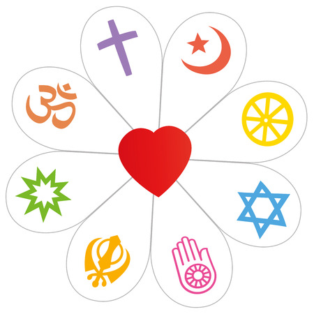 Religious symbols did form a flower with a heart as a symbol for religious unity or commonness - Islam, Buddhism, Judaism, Jainism, Sikhism, Bahai, Hinduism, Christianity. Isolated vector over white.