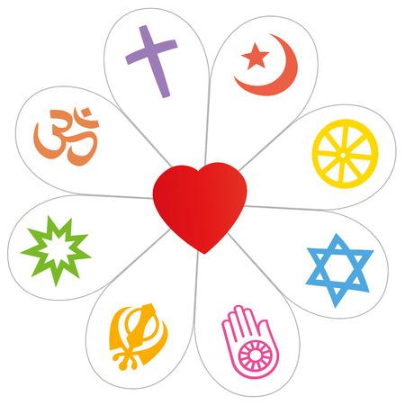 Les symboles religieux ont fait former une fleur avec un coeur comme un symbole de l'unité religieuse ou la banalité - l'islam, le bouddhisme, le judaïsme, le jaïnisme, le sikhisme, Bahai, l'hindouisme, le christianisme. Isolé sur blanc vecteur.