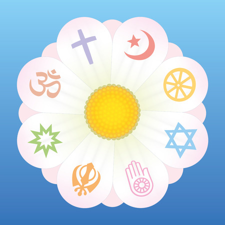 World religion symbols on petals of a flower as a symbol for religious solidarity and coherence - Christianity, Islam, Buddhism, Judaism, Jainism, Sikhism, Bahai, Hinduism. Vector on blue background. Иллюстрация