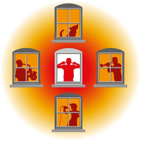 contaminacion acustica: Los vecinos hicieron que la música alta, en la ventana del medio de molesto uno cubre sus oídos.