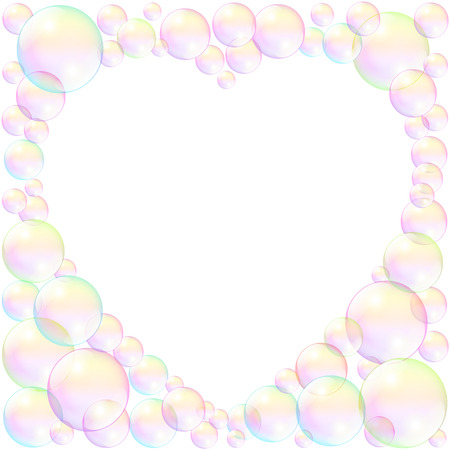 fill fill in: Soap bubbles with empty heart shaped space to fill in any text or image.