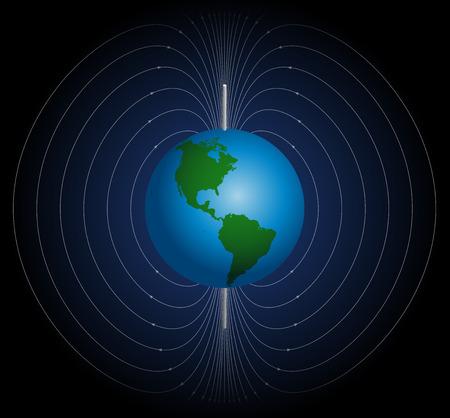 El campo magnético terrestre alrededor de la Tierra. Ilustración de vector