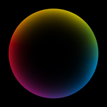 Rainbow colored bubble with black center. Isolated vector illustration on black background.