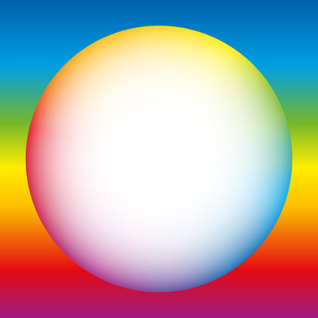 rainbow sphere: Rainbow colored bubble with white center. Isolated vector illustration on rainbow gradient background.