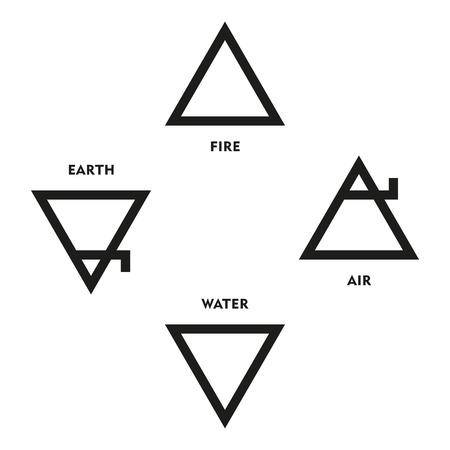 cuatro elementos: Clásicos Símbolos cuatro elementos de la alquimia medieval. Los triángulos representan a tierra agua fuego y el aire. Ilustración sobre fondo blanco.