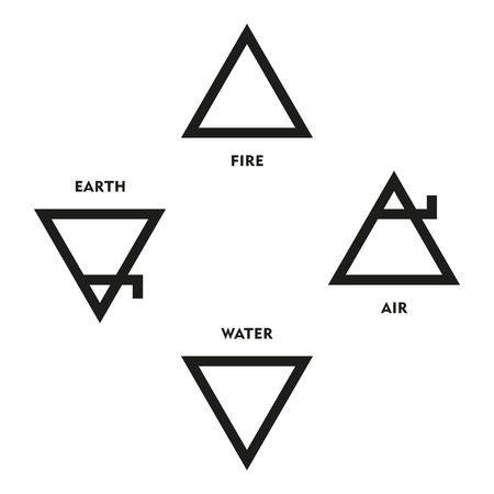 Classical Four Elements Symbols Of Medieval Alchemy. Triangles representing fire earth water and air. Illustration on white background. Illustration