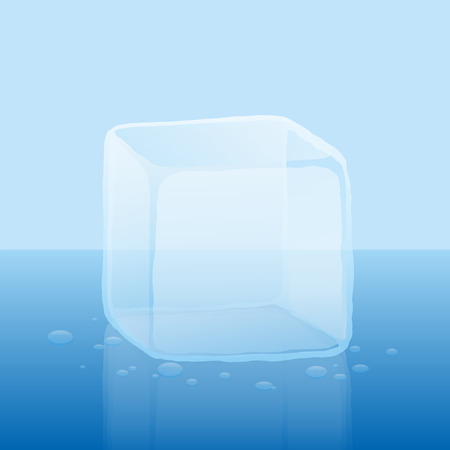 ice cube: Single ice cube or block of ice  illustration on a cold blue gradient background. Illustration
