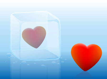 coldness: Cold heart inside an ice cube and warm heart outside illustration on blue gradient background. Illustration