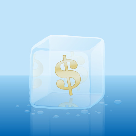 dept: Dollar symbol inside an ice cube as a symbol for frozen credit or frozen capital illustration on blue gradient background.