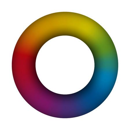 Torus  white background  3d  rainbow colored  vector illustration. Ilustracja