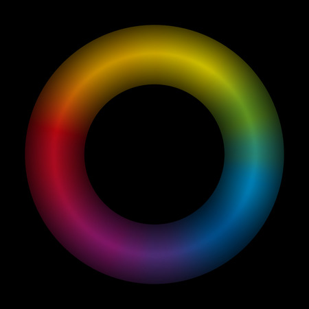 3d rainbow: Torus  black background  3d  rainbow colored  vector illustration.