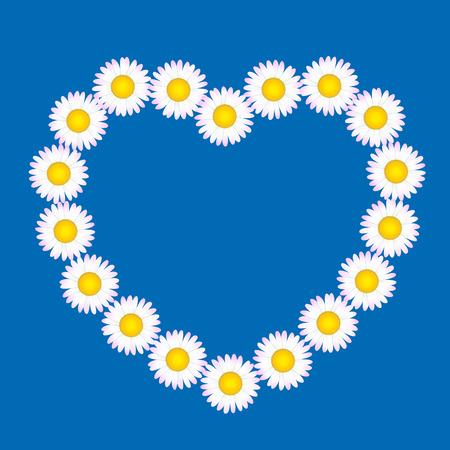 coronal: Daisy flower heart on blue background. Vector illustration. Illustration