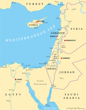 jordan: Eastern Mediterranean Political Map with national capitals borders rivers and lakes important cities. English labeling and scaling. Illustration.