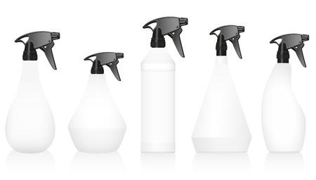 gatillo: Botellas de spray variaciones con cuerpos blancos en blanco y zapatos negros bien conocidos. Ilustración vectorial aislados en fondo blanco.