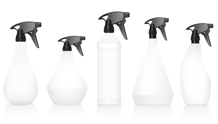 packaging equipment: Spray bottles  well known variations with blank white bodies and black pumps. Isolated vector illustration on white background.